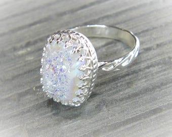 Angel Aura Quartz Ring Unique Druzy Statement Ring set in Ornate Sterling Filigree R163