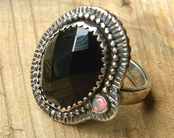 Modern Classic Opal and Black Onyx Statement Ring in Detailed Sterling Silver Setting  R169