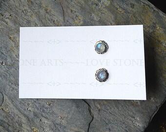 Rainbow Moonstone Chicory Blue Gem Stud Earrings, 5mm Gem Studs E