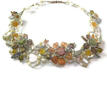 Splendid Harvest Statement Necklace of Wired Jewels WJ113