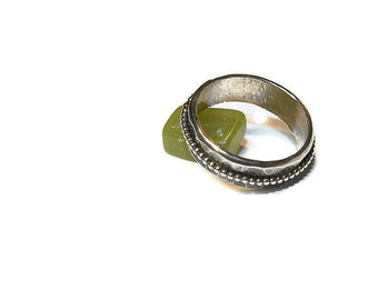 Stackable Spinning Meditation Ring, Fidget Ring in Beaded Sterling Silver R126