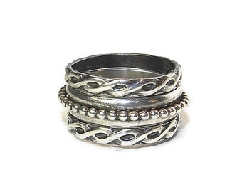 Meditation Rings, Sterling Silver Celtic Fidget Rings, Set of Three Exclusive Spinners R151