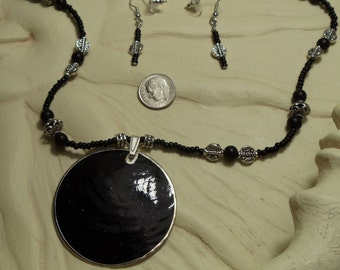 """19"""" Black and Silver Necklace with Black Pendant, Magnetic Closure and Earrings, Necklace, Black, Pendant, Magnetic"""