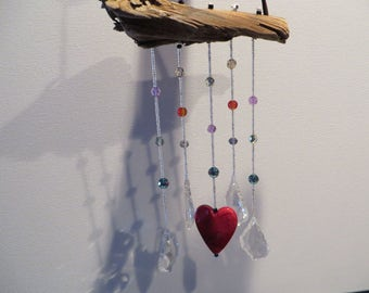 Driftwood Hanging Mobile with Crystals and Heart, Driftwood, Hanging, Mobile, Crystals, Heart