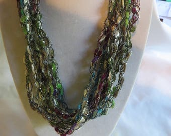 "22"" Crocheted Necklace Scarf - Color Corsage, Necklace, Scarf, Crocheted"