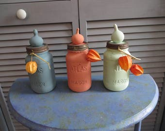 Decorative Jars with Gourds, Canning Jar, Mason, Canning, Gourd