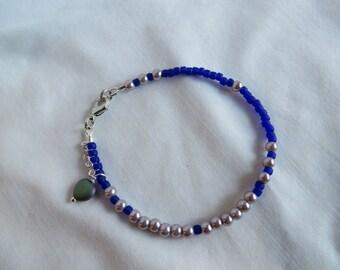 """7 1/2"""" Cobalt Bracelet with Heart, Bracelet, Cobalt, Blue, Heart, Beaded"""