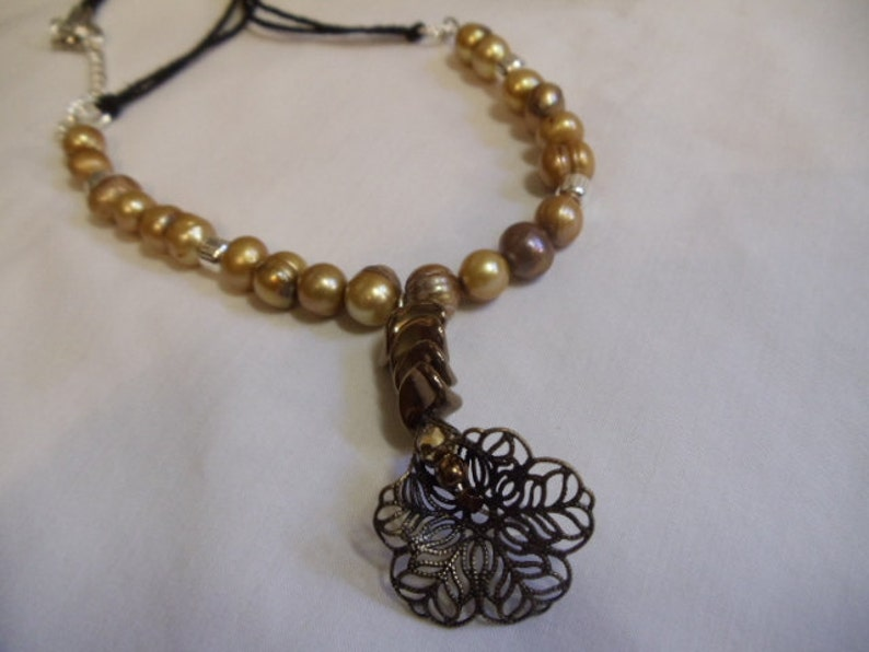 beaded necklace gold 18 14 Gold Pearls and Silver Beaded Necklace with Gold Flower and Bronze Nuggets bronze pearl flower