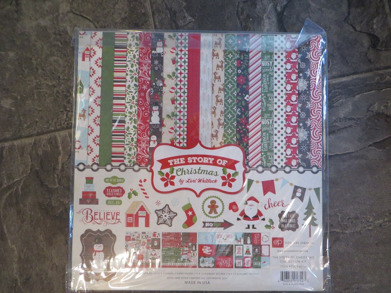 cardstock Christmas Echo Park stickers story of Christmas 12 x 12 Echo Park Paper Co The Story of Christmas Collection Kit