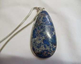 "16"" Blue Stone Pendant on Silver Chain, Blue Stone, Pendant, Necklace"