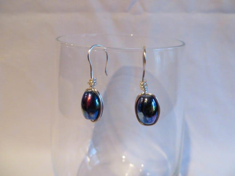 Blue Purple Navy Green Dangle Earrings Purple and Blue Oval Wire Wrapped Earrings Wire Wrapped