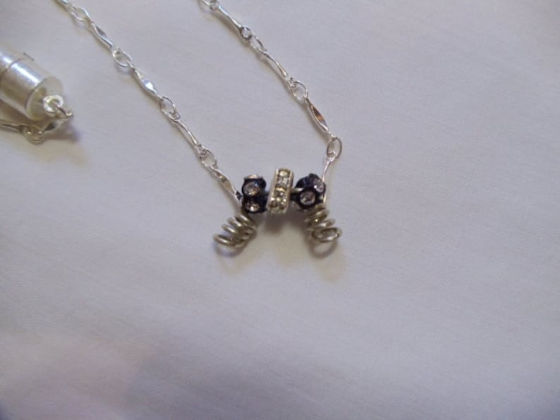 16 12 Black and Silver Crystal Necklace with Magnetic Clasp magnetic necklace crystal