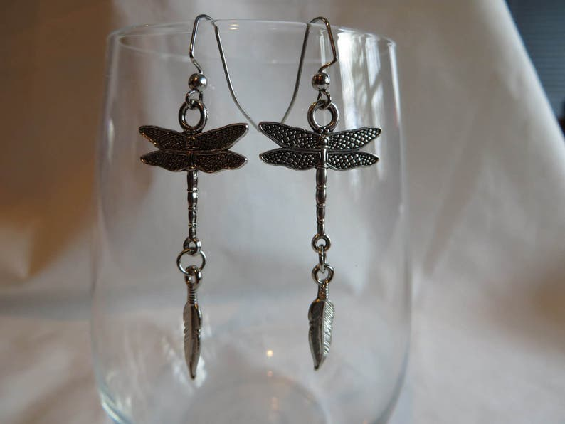 Earrings Dragonfly Dragonfly and Feather Dangle Earrings on Silver Ear Wires Silver Ear Wires Feather Dangle