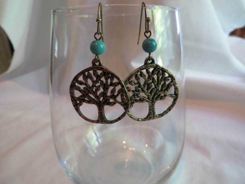 life dangle Antique Gold Tree of Life Earrings earrings tree of life