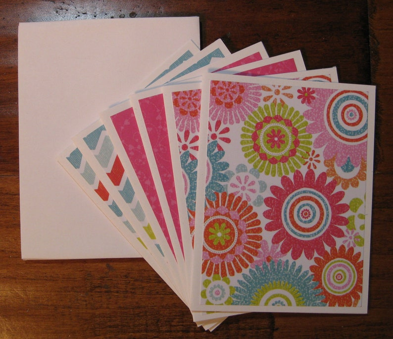 Colorful Mandala note card set of 6 handmade note cards notecards w envelopes,Stripe note cards,Thank you Gift Boxed blank notecard set