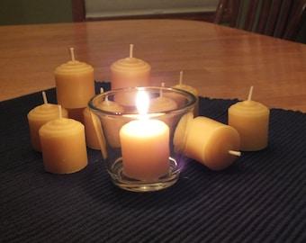 One dozen beeswax votive candles
