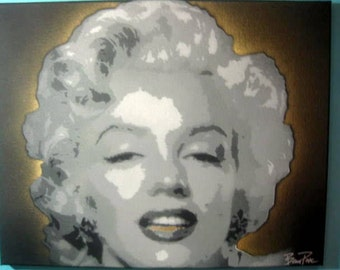 Marilyn Monroe w/Gold Grill Gangster Stencil Painting by Beau Pope - Spray Paint on Canvas