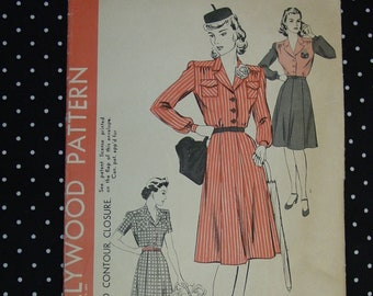 Vintage Hollywood Pattern No.1219 c.1940's Dress Size 20 Bust 38 Uncut