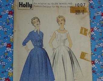 Vintage Rare Holly Pattern c.1950's No.1007 Glen Wakeling Dress & Jacket Size 14