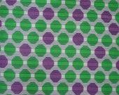 Fun Vintage Feedsack Fabric 17 1 2 x 32 1 2 quot Green Purple Dots, Black White Stripe