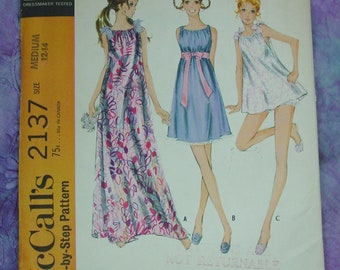 4d68d97316 Vintage Pattern c.1969 McCall s No.2137 Misses Nightgown in 3 Lengths