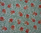 Nice Vintage Feedsack Fabric 23 x 36 quot Small Print Carnations in Orange,Rust with Green Circles
