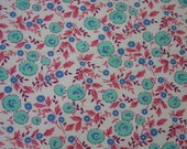 Pretty Vintage Feedsack Fabric 21 x 36 quot White Background, Aqua,Pink,Blue Floral