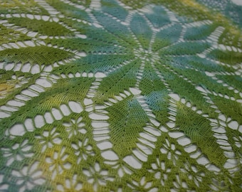 """Hand Dyed Tinted Vintage Hand Crocheted Doily 26 x 26"""" Beautiful Green,Blue,Yellow"""