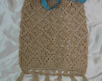 """Antique Victorian Hand Crocheted Purse, Bag Ecru with Tassels 6 x 10"""" Never Used"""