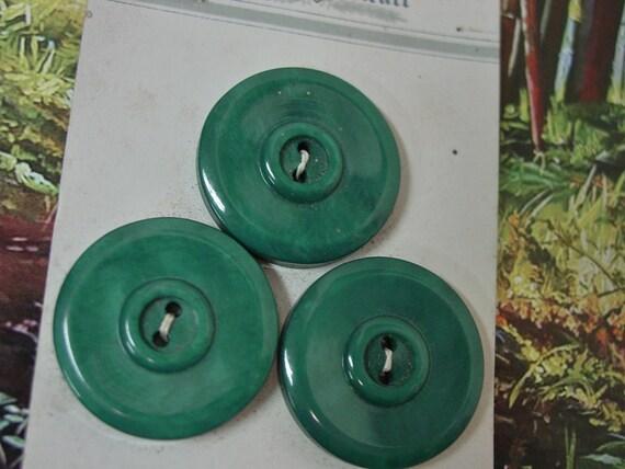 VINTAGE ULTRA KRAFT GREEN PATTERN BUTTONS SET 8 ORIGINAL CARD