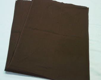 """Vintage Cotton Fabric Solid Brown, 35"""" Wide x 1 Yard 11"""",  Quilting, Crafts"""