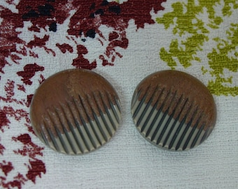 Neat Pair of Vintage Celluloid Buttons, Unusual Shape, Grooves, Faux Wood 1 1/4""