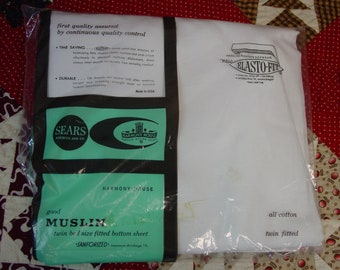 Nice Vintage Twin Fitted Bed Sheet Sears White All Cotton Elasto-Fit