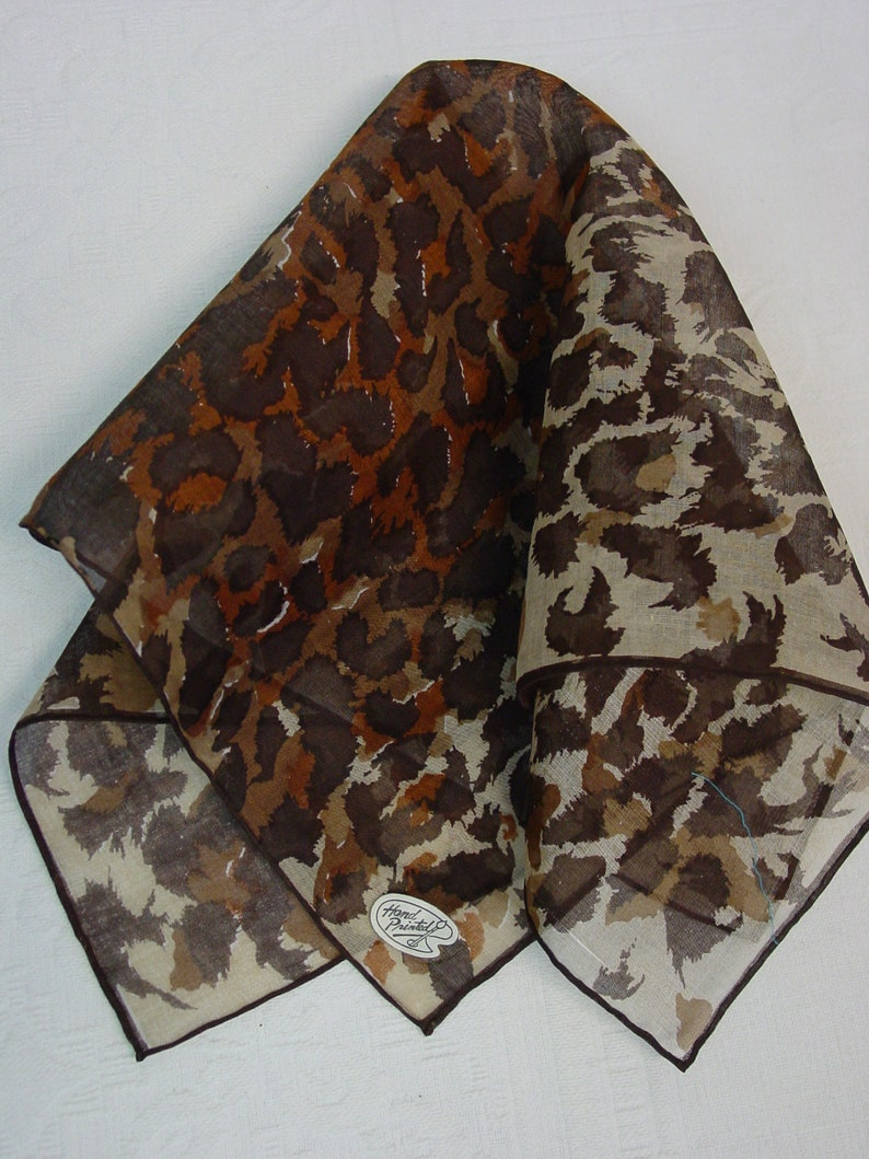 Shades of Brown Neat Vintage Hanky,Handkerchief  16 Unused with Labels Made in Japan Hand Painted
