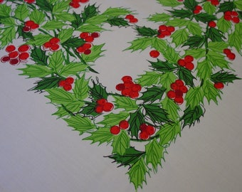 "Vintage Tablecloth, Christmas, Holiday Large 60 x 99"" Colorful Holly on White"