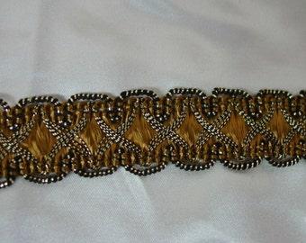 "Vintage Metallic Trim, 3/4"" Gold/Copper Color, Gorgeous 8 Yards Available"