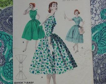 Vintage Pattern c.1950's Butterick No.7651 Full Skirted Dress, Sz. 14