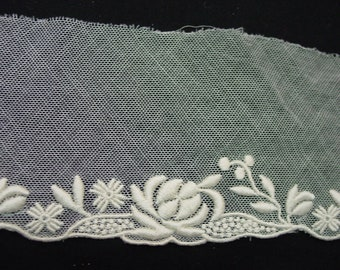 """Gorgeous Vintage Soft Net Lace with Embroidered Edge 7 Yards Available 3"""" Wide"""