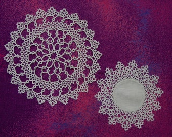 """2 Beautiful Vintage Tatted Doilies Off White, 9"""" and 6 1/2"""""""