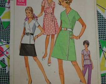 Vintage Pattern c.1969 Simplicity No.8161 Wrap Dress,Tunic,Skirt Size 22 1/2 Bust 45