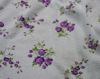 "Pretty Vintage Cotton Seersucker Fabric White with Purple Flowers 2 Yds.33"", 38"" Wide"