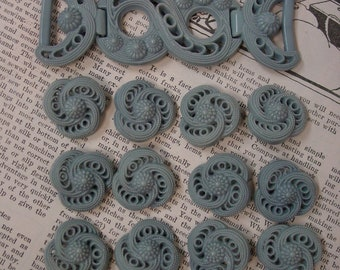 Vintage 12  Button & Buckle Set Grey Plastic Open Work Swirls Nice