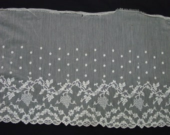 "Lovely Vintage/Antique Wide Lace Flounce Trim  3 2/3 Yards 14 1/2"" Wide Light Ecru"