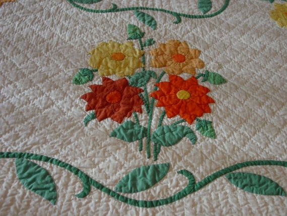 Fabulous antique quilt hand applique and hand quilted etsy