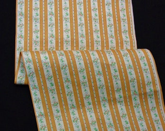 """Beautiful Vintage Ticking Fabric Heavy Cotton Gold/Orange Stripes & Florals 2 Yds.2"""" 33"""" Wide"""