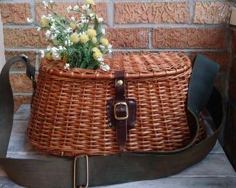 Vintage 1950s Fishing Creel Basket Nautical Decor