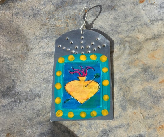 Sacred Heart Southwestern Christmas Ornament Hammered Etsy