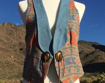 Vintage Western Tapestry Vest - Circle T Southwestern - Concho's  / Suede - 1980 - Medium