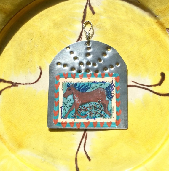 Wild Horse Western Christmas Ornament Hammered Tin Ex Etsy