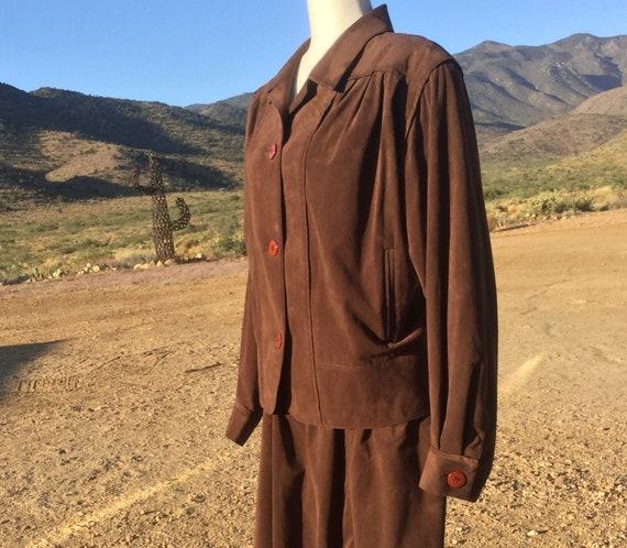 Vintage Western Ultra Suede Dress Suit - Skirt Jac